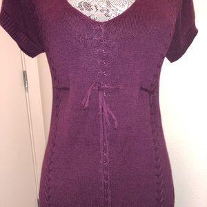Studio Maroon Knit Sweater Dress Small